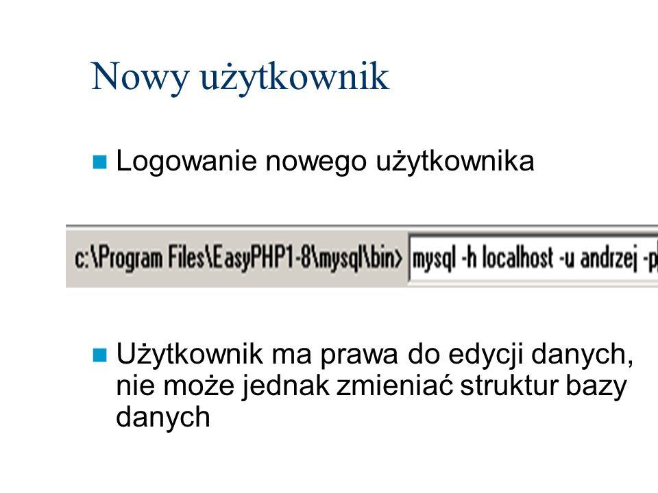 Nowy użytkownik Logowanie nowego użytkownika Użytkownik ma prawa do edycji danych, nie może jednak zmieniać struktur bazy danych