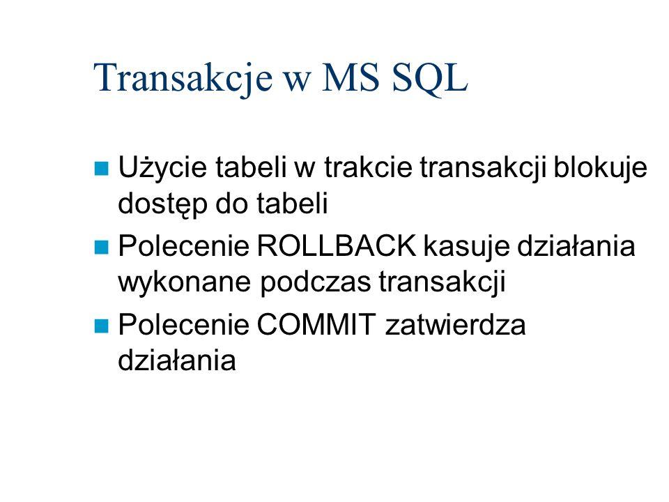 Transakcje w MS SQL Użycie tabeli w trakcie transakcji blokuje dostęp do tabeli Polecenie ROLLBACK kasuje działania wykonane podczas transakcji Polece