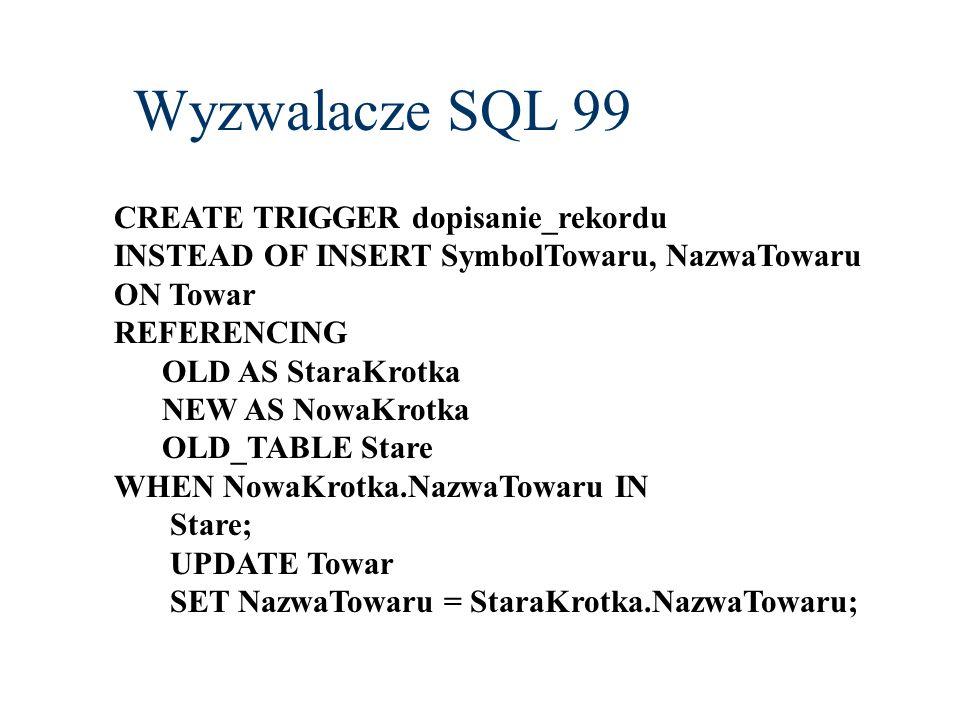 Wyzwalacze SQL 99 CREATE TRIGGER dopisanie_rekordu INSTEAD OF INSERT SymbolTowaru, NazwaTowaru ON Towar REFERENCING OLD AS StaraKrotka NEW AS NowaKrot