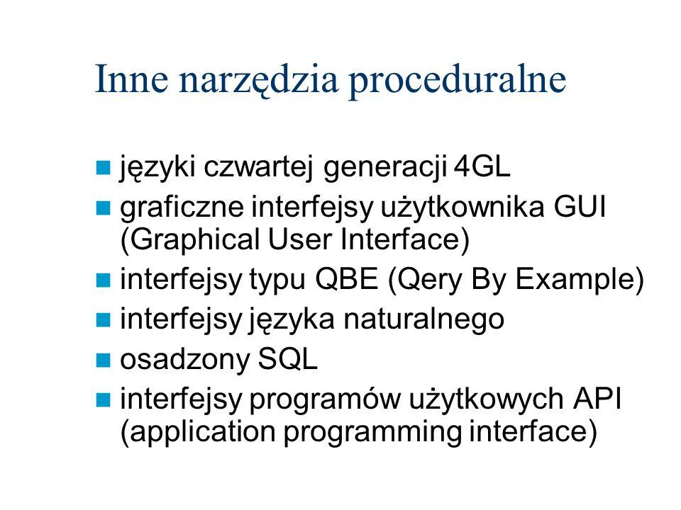 Inne narzędzia proceduralne języki czwartej generacji 4GL graficzne interfejsy użytkownika GUI (Graphical User Interface) interfejsy typu QBE (Qery By