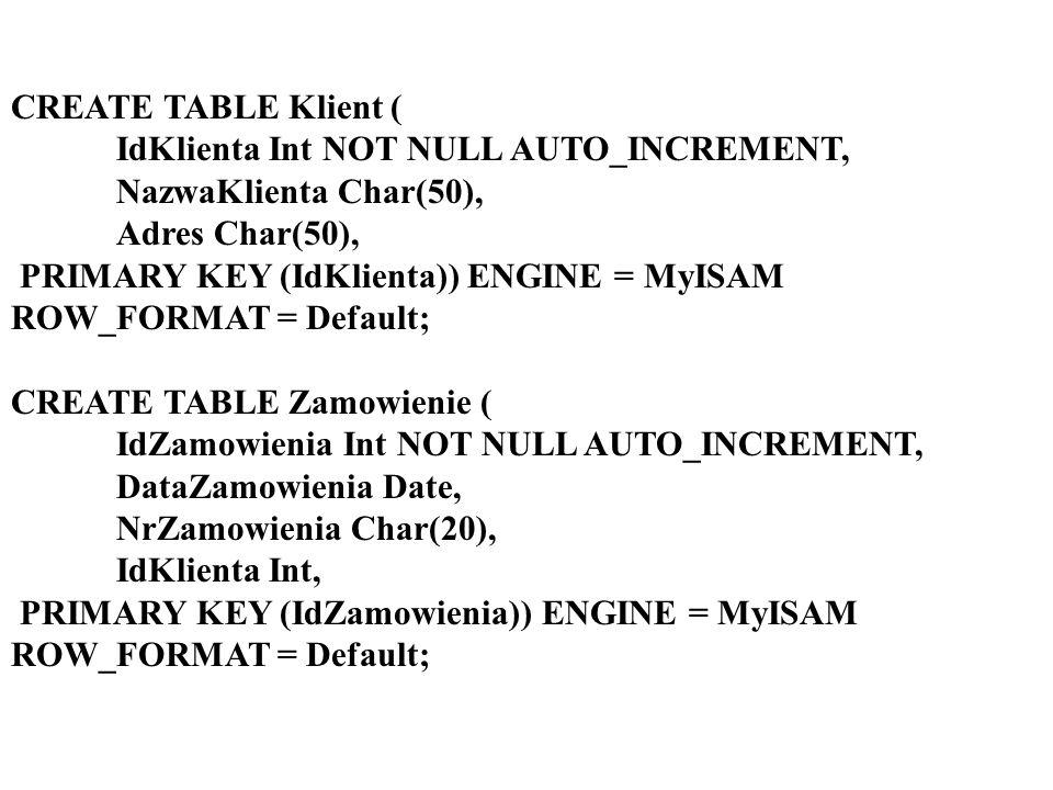 Kaskadowa aktualizacja w MS SQL Alter table [Zapisy] add foreign key([RodzajZajec]) references [RodzajeZajec] ([RodzajZajec]) on update cascade on delete cascade
