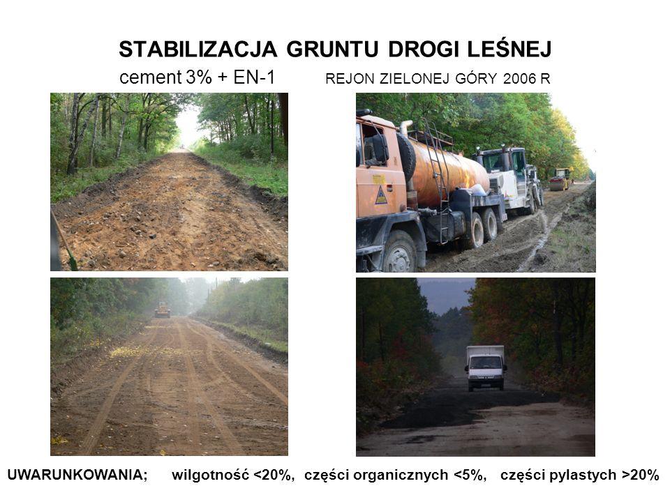STABILIZACJA GRUNTU DROGI LEŚNEJ cement 3% + EN-1 REJON ZIELONEJ GÓRY 2006 R UWARUNKOWANIA; wilgotność 20%