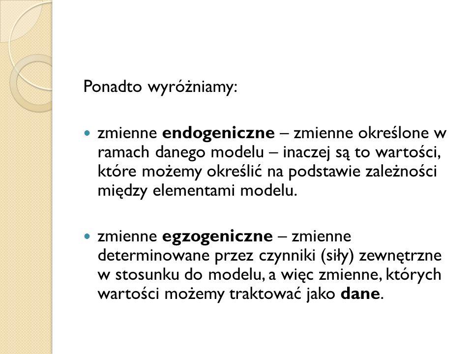 Ponadto wyróżniamy: zmienne endogeniczne – zmienne określone w ramach danego modelu – inaczej są to wartości, które możemy określić na podstawie zależ