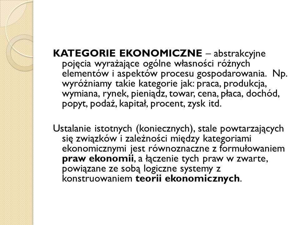 KATEGORIE EKONOMICZNE – abstrakcyjne pojęcia wyrażające ogólne własności różnych elementów i aspektów procesu gospodarowania. Np. wyróżniamy takie kat