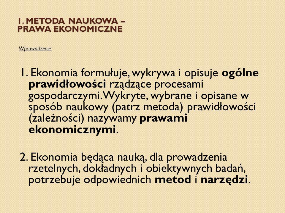 1. METODA NAUKOWA – PRAWA EKONOMICZNE Wprowadzenie: 1. Ekonomia formułuje, wykrywa i opisuje ogólne prawidłowości rządzące procesami gospodarczymi. Wy