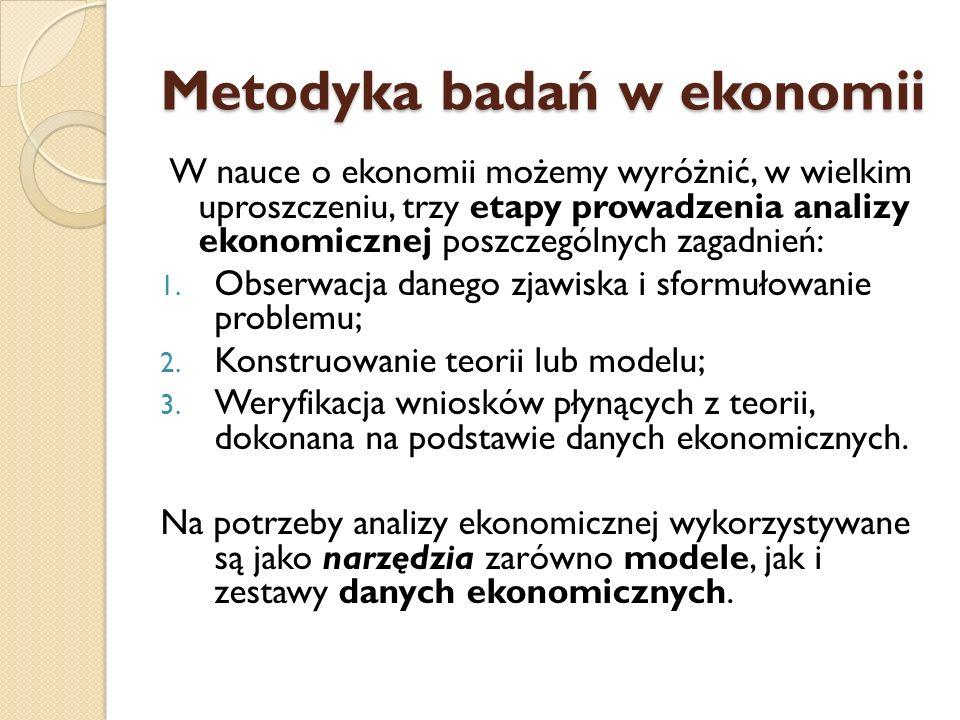 Metodyka badań w ekonomii W nauce o ekonomii możemy wyróżnić, w wielkim uproszczeniu, trzy etapy prowadzenia analizy ekonomicznej poszczególnych zagad