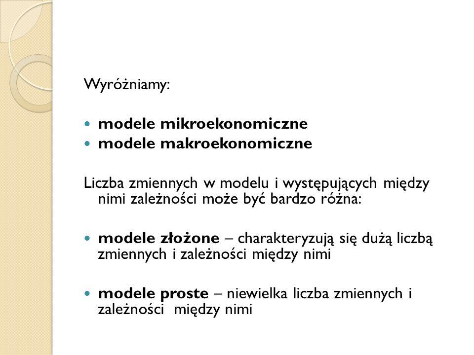 Wyróżniamy: modele mikroekonomiczne modele makroekonomiczne Liczba zmiennych w modelu i występujących między nimi zależności może być bardzo różna: mo