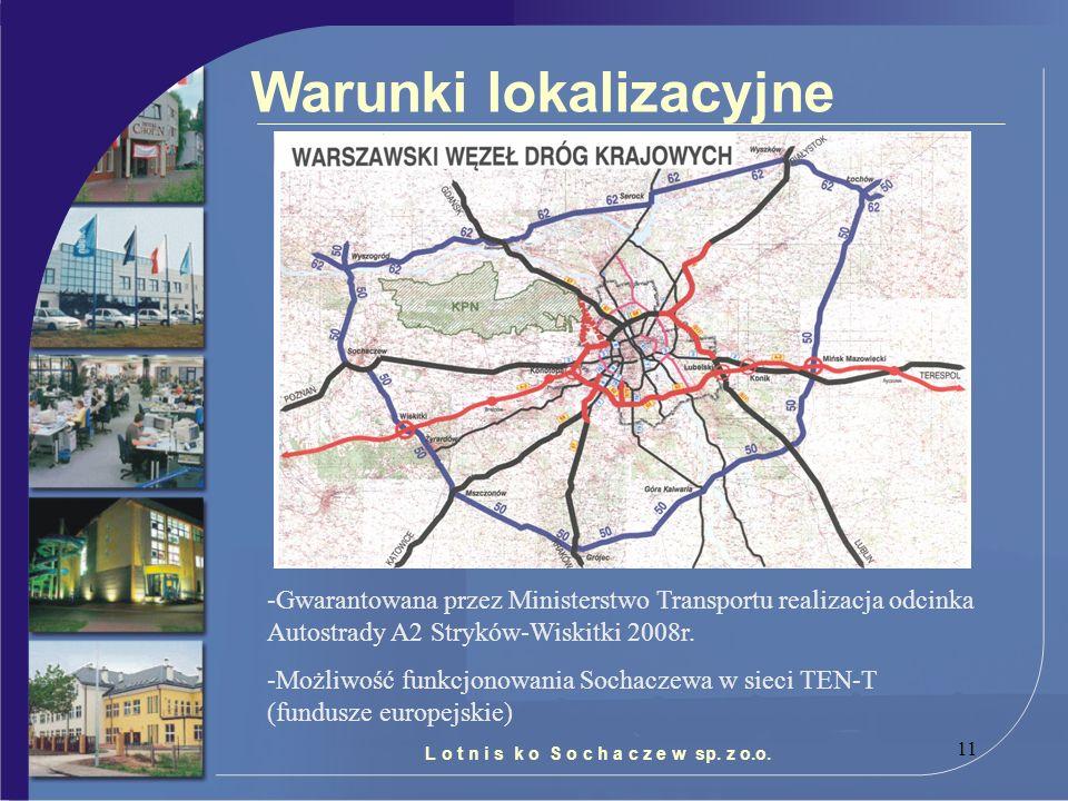 11 Warunki lokalizacyjne L o t n i s k o S o c h a c z e w sp. z o.o. -Gwarantowana przez Ministerstwo Transportu realizacja odcinka Autostrady A2 Str