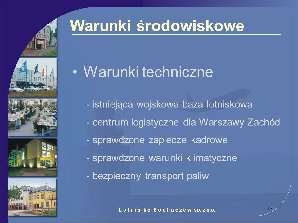 13 Warunki techniczne Warunki środowiskowe - istniejąca wojskowa baza lotniskowa - centrum logistyczne dla Warszawy Zachód - sprawdzone zaplecze kadro