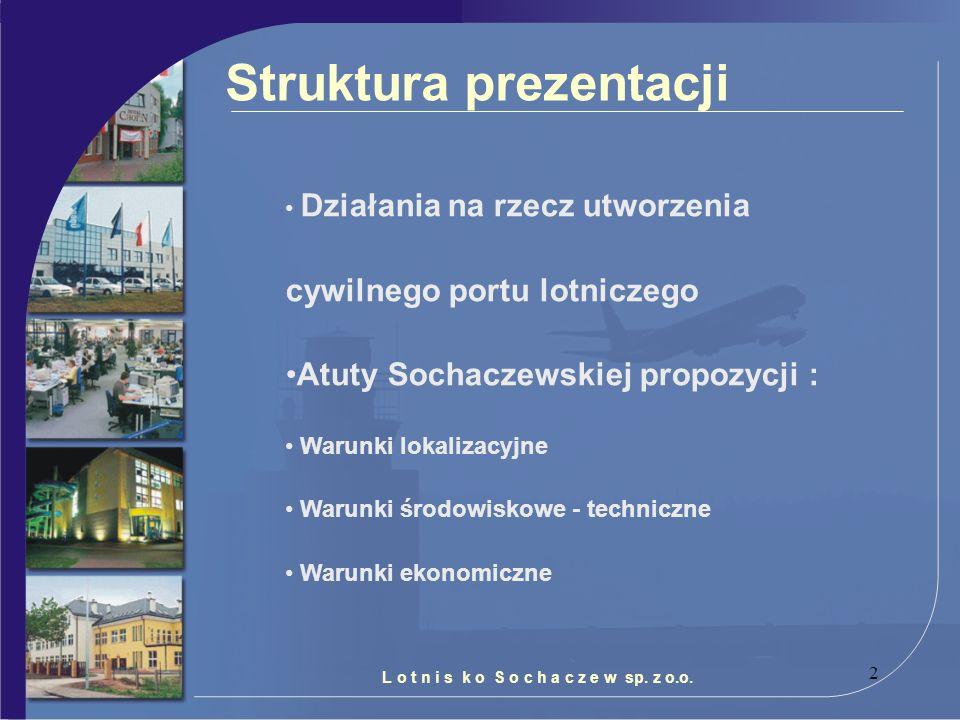2 L o t n i s k o S o c h a c z e w sp. z o.o. Struktura prezentacji Działania na rzecz utworzenia cywilnego portu lotniczego Atuty Sochaczewskiej pro