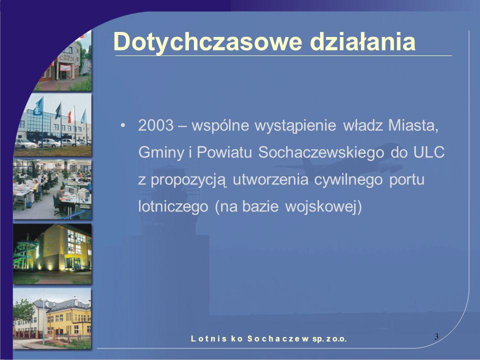 3 Dotychczasowe działania 2003 – wspólne wystąpienie władz Miasta, Gminy i Powiatu Sochaczewskiego do ULC z propozycją utworzenia cywilnego portu lotn