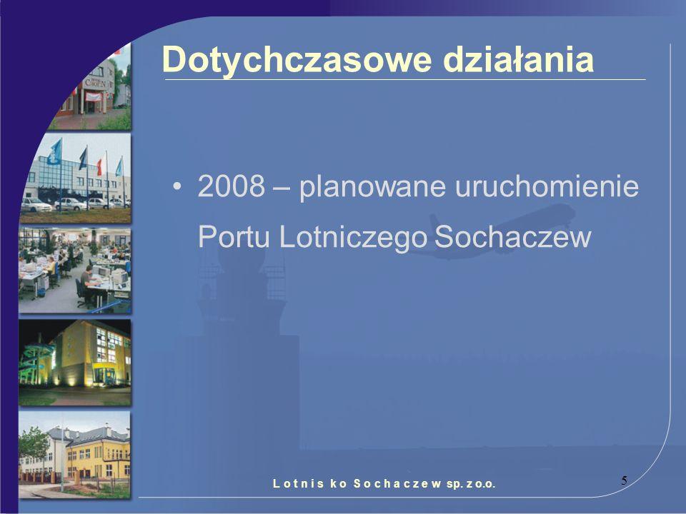 5 Dotychczasowe działania 2008 – planowane uruchomienie Portu Lotniczego Sochaczew L o t n i s k o S o c h a c z e w sp. z o.o.