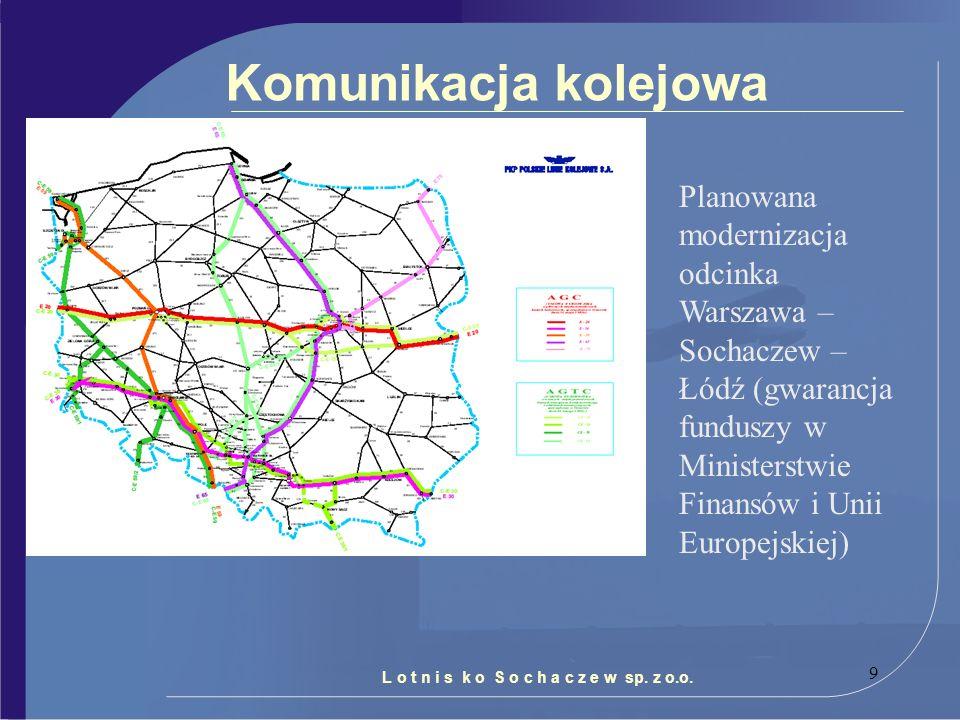 9 Komunikacja kolejowa L o t n i s k o S o c h a c z e w sp. z o.o. Planowana modernizacja odcinka Warszawa – Sochaczew – Łódź (gwarancja funduszy w M