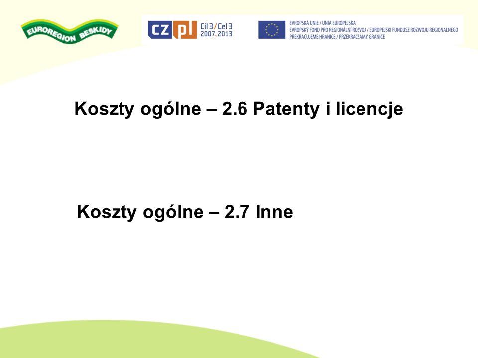 Koszty ogólne – 2.6 Patenty i licencje Koszty ogólne – 2.7 Inne