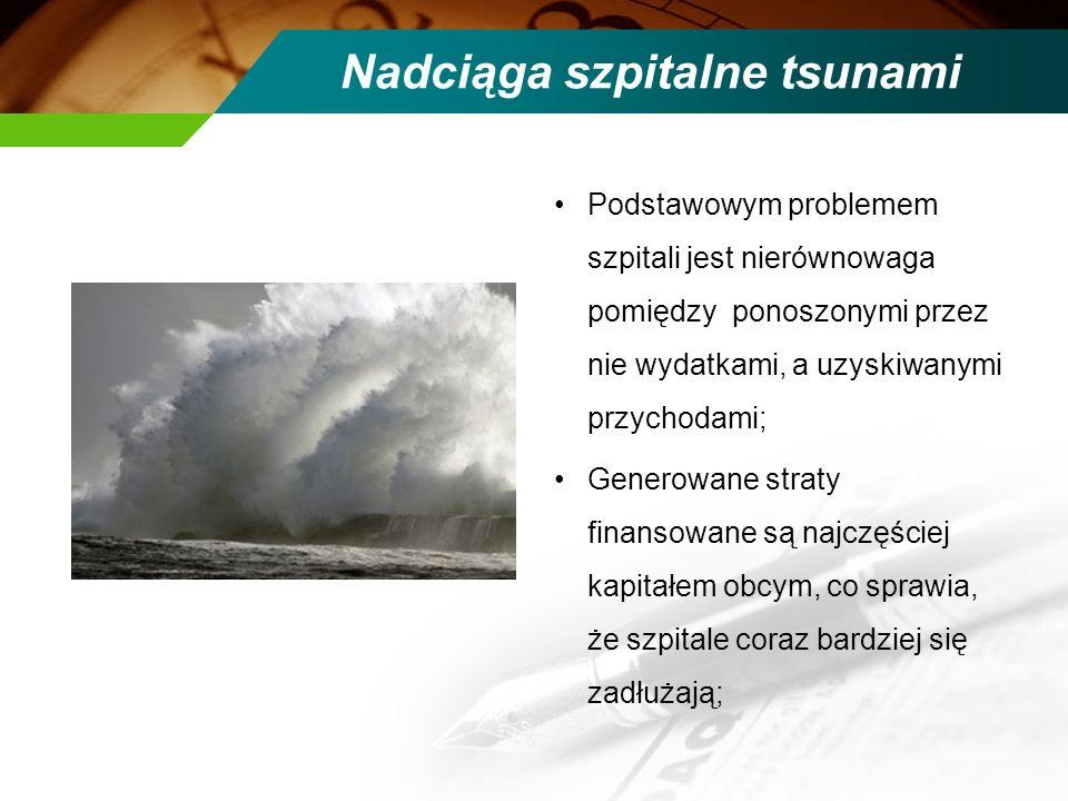Nadciąga szpitalne tsunami Podstawowym problemem szpitali jest nierównowaga pomiędzy ponoszonymi przez nie wydatkami, a uzyskiwanymi przychodami; Gene