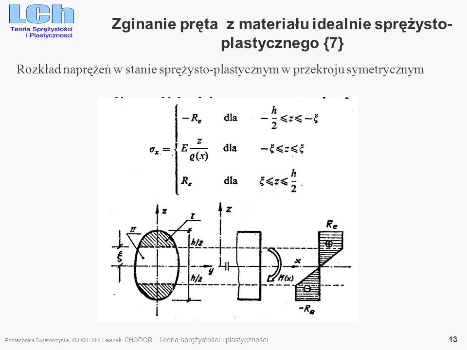 Zginanie pręta z materiału idealnie sprężysto- plastycznego {7} Rozkład naprężeń w stanie sprężysto-plastycznym w przekroju symetrycznym Politechnika