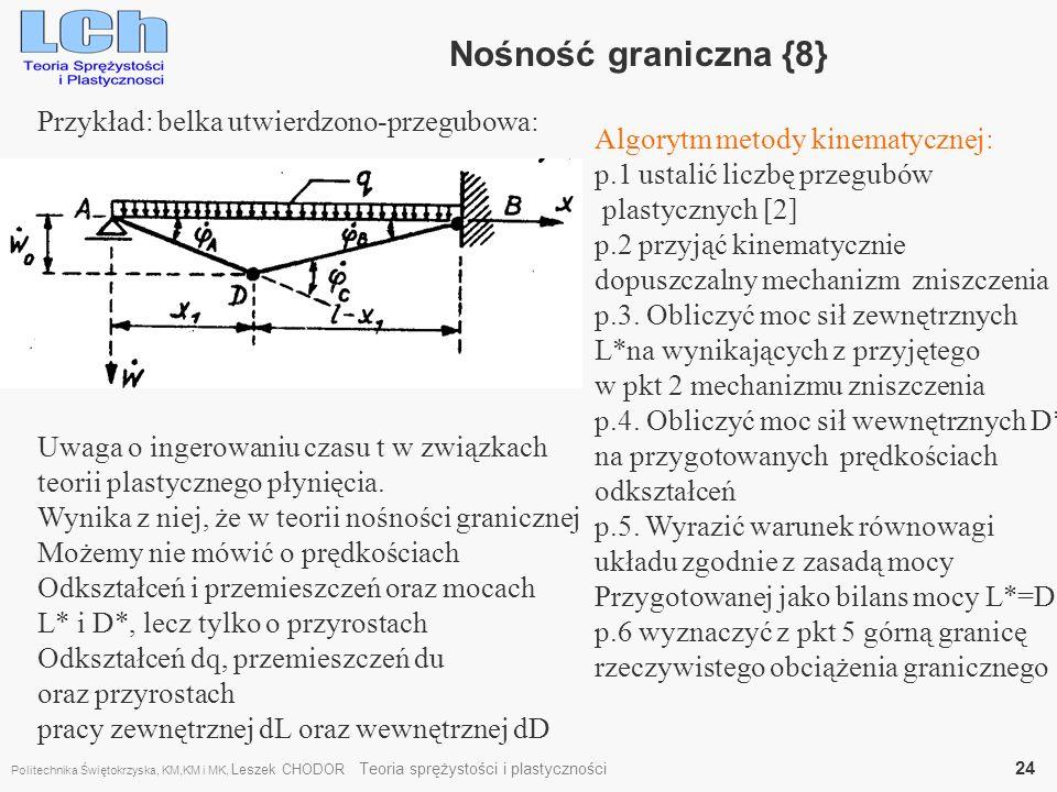 Przykład: belka utwierdzono-przegubowa: Nośność graniczna {8} Algorytm metody kinematycznej: p.1 ustalić liczbę przegubów plastycznych [2] p.2 przyjąć