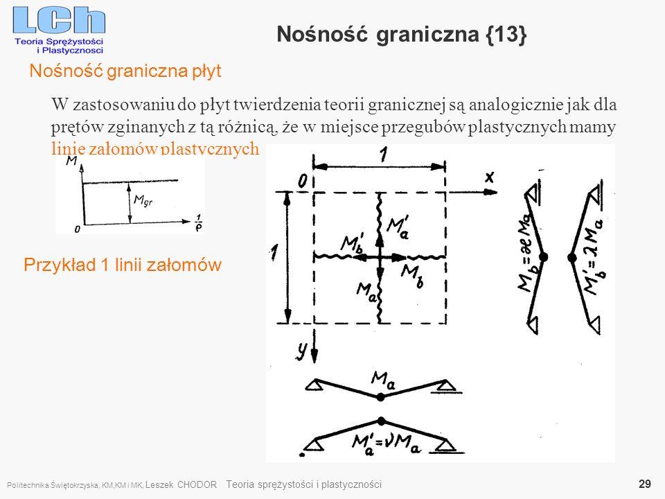 Nośność graniczna {13} W zastosowaniu do płyt twierdzenia teorii granicznej są analogicznie jak dla prętów zginanych z tą różnicą, że w miejsce przegu