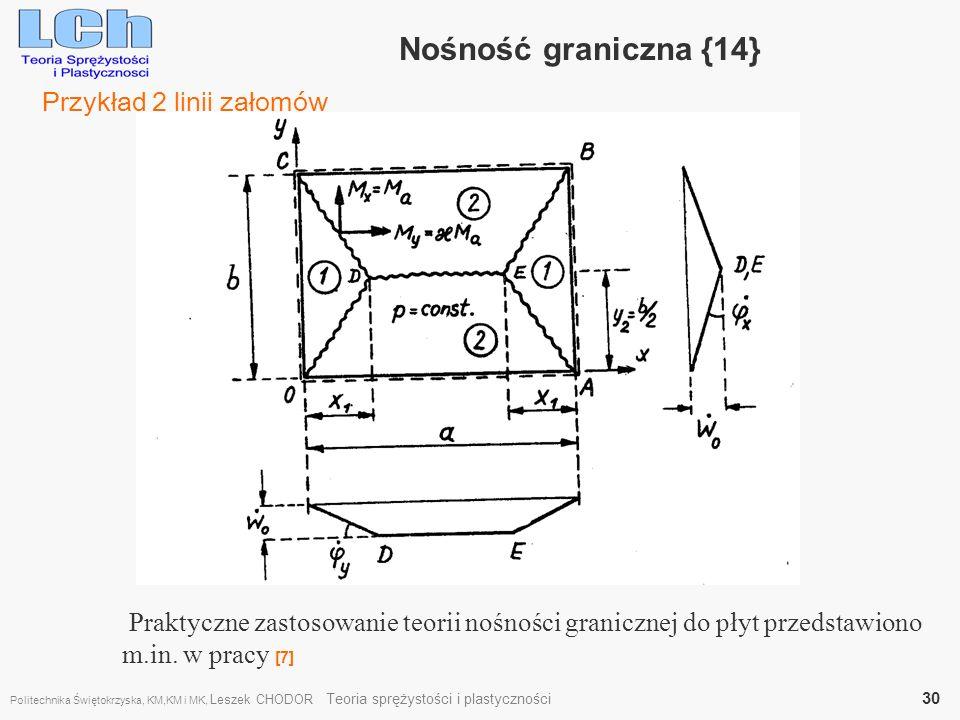 Nośność graniczna {14} Praktyczne zastosowanie teorii nośności granicznej do płyt przedstawiono m.in. w pracy [7] Przykład 2 linii załomów Politechnik