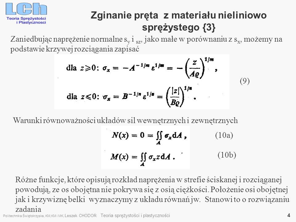 Zginanie pręta z materiału nieliniowo sprężystego {3} Zaniedbując naprężenie normalne s y i sz, jako małe w porównaniu z s x, możemy na podstawie krzy