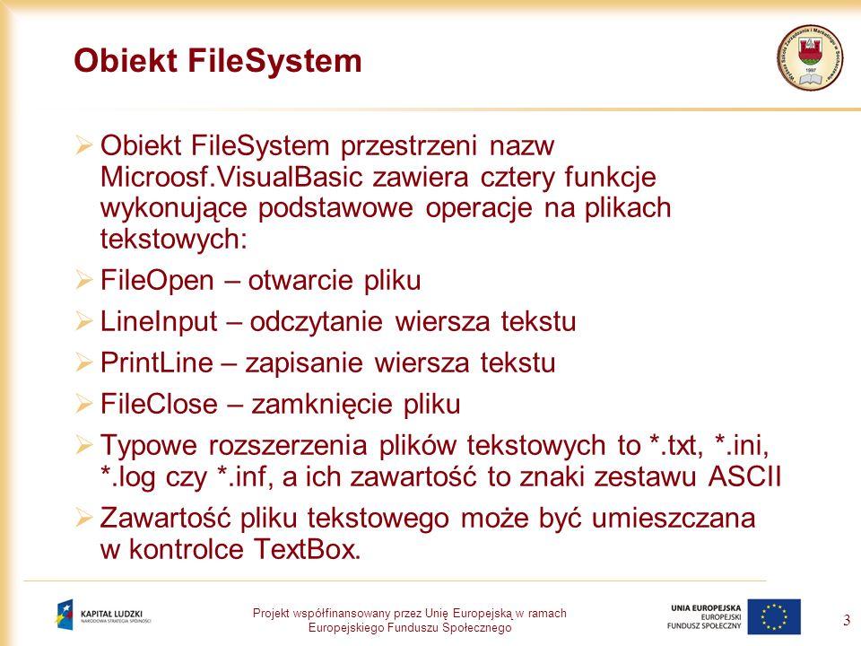 Projekt współfinansowany przez Unię Europejską w ramach Europejskiego Funduszu Społecznego 3 Obiekt FileSystem Obiekt FileSystem przestrzeni nazw Micr
