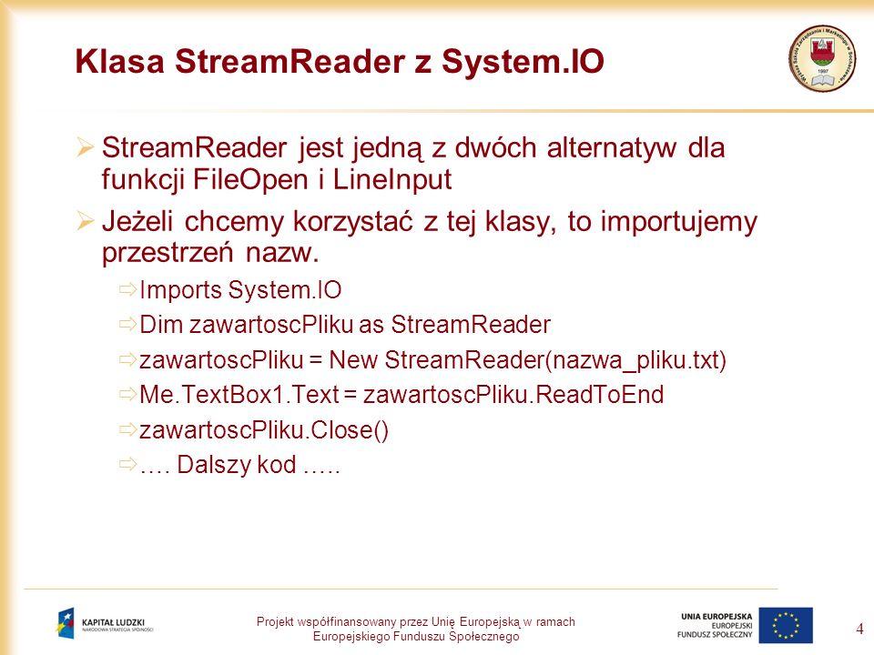 Projekt współfinansowany przez Unię Europejską w ramach Europejskiego Funduszu Społecznego 4 Klasa StreamReader z System.IO StreamReader jest jedną z