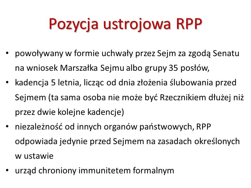 Pozycjaustrojowa RPP Pozycja ustrojowa RPP powoływany w formie uchwały przez Sejm za zgodą Senatu na wniosek Marszałka Sejmu albo grupy 35 posłów, kad
