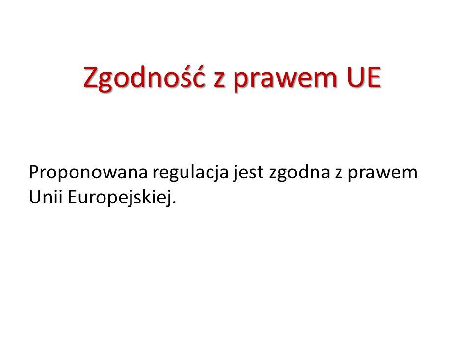 ZgodnośćzprawemUE Zgodność z prawem UE Proponowana regulacja jest zgodna z prawem Unii Europejskiej.