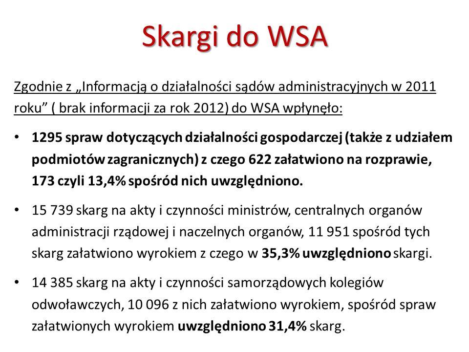 Skargi do WSA Zgodnie z Informacją o działalności sądów administracyjnych w 2011 roku ( brak informacji za rok 2012) do WSA wpłynęło: 1295 spraw dotyc
