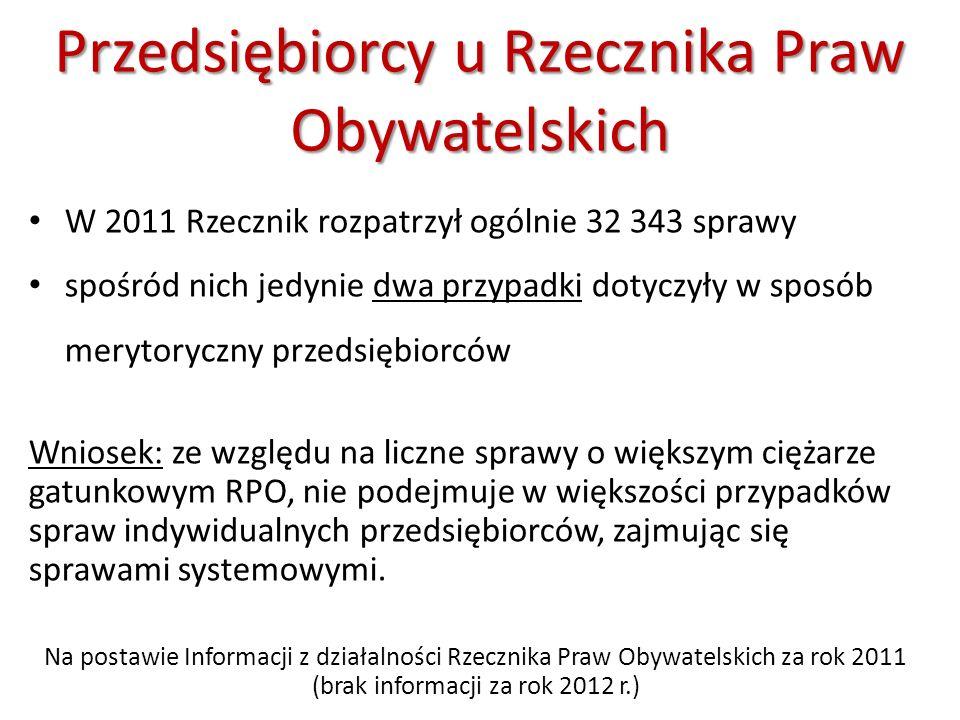 Przedsiębiorcy u Rzecznika Praw Obywatelskich W 2011 Rzecznik rozpatrzył ogólnie 32 343 sprawy spośród nich jedynie dwa przypadki dotyczyły w sposób m