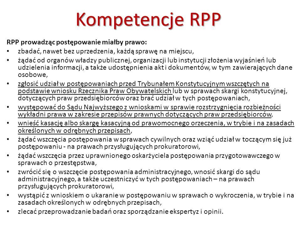 Pozycjaustrojowa RPP Pozycja ustrojowa RPP powoływany w formie uchwały przez Sejm za zgodą Senatu na wniosek Marszałka Sejmu albo grupy 35 posłów, kadencja 5 letnia, licząc od dnia złożenia ślubowania przed Sejmem (ta sama osoba nie może być Rzecznikiem dłużej niż przez dwie kolejne kadencje) niezależność od innych organów państwowych, RPP odpowiada jedynie przed Sejmem na zasadach określonych w ustawie urząd chroniony immunitetem formalnym