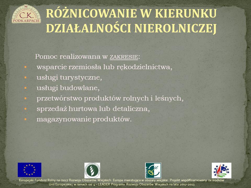 Pomoc realizowana w ZAKRESIE : wsparcie rzemiosła lub rękodzielnictwa, usługi turystyczne, usługi budowlane, przetwórstwo produktów rolnych i leśnych,