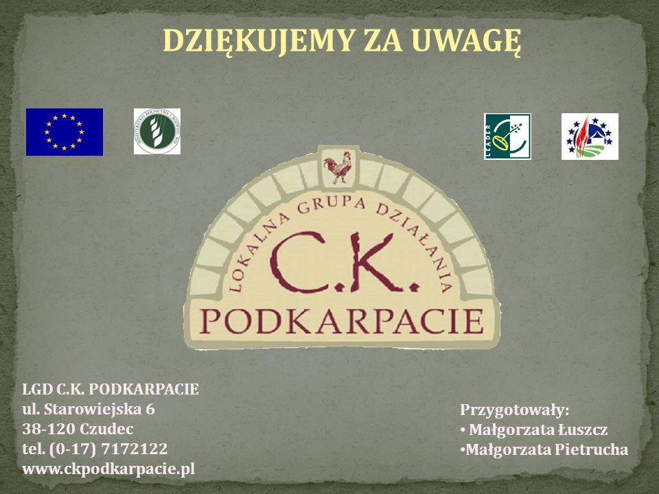 DZIĘKUJEMY ZA UWAGĘ LGD C.K. PODKARPACIE ul. Starowiejska 6 38-120 Czudec tel. (0-17) 7172122 www.ckpodkarpacie.pl Przygotowały: Małgorzata Łuszcz Mał