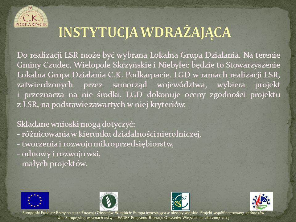 Wartość przyznanej pomocy dla LGD stanowi iloczyn liczby mieszkańców zamieszkujących na obszarze objętym działaniem LGD i kwot: - wdrażanie LSR – 116 PLN - wdrażanie projektów współpracy – 3 PLN - funkcjonowanie LGD – 29 PLN ŚRODKI PIENIĘŻNE DOSTĘPNE W RAMACH POSZCZEGÓLNYCH DZIAŁAŃ Europejski Fundusz Rolny na rzecz Rozwoju Obszarów Wiejskich: Europa inwestująca w obszary wiejskie.