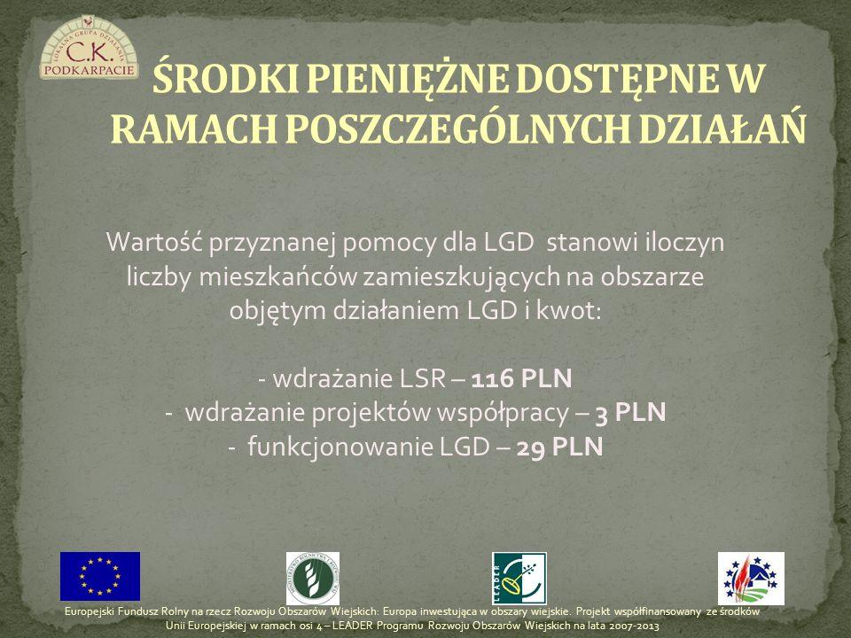 Wartość przyznanej pomocy dla LGD stanowi iloczyn liczby mieszkańców zamieszkujących na obszarze objętym działaniem LGD i kwot: - wdrażanie LSR – 116