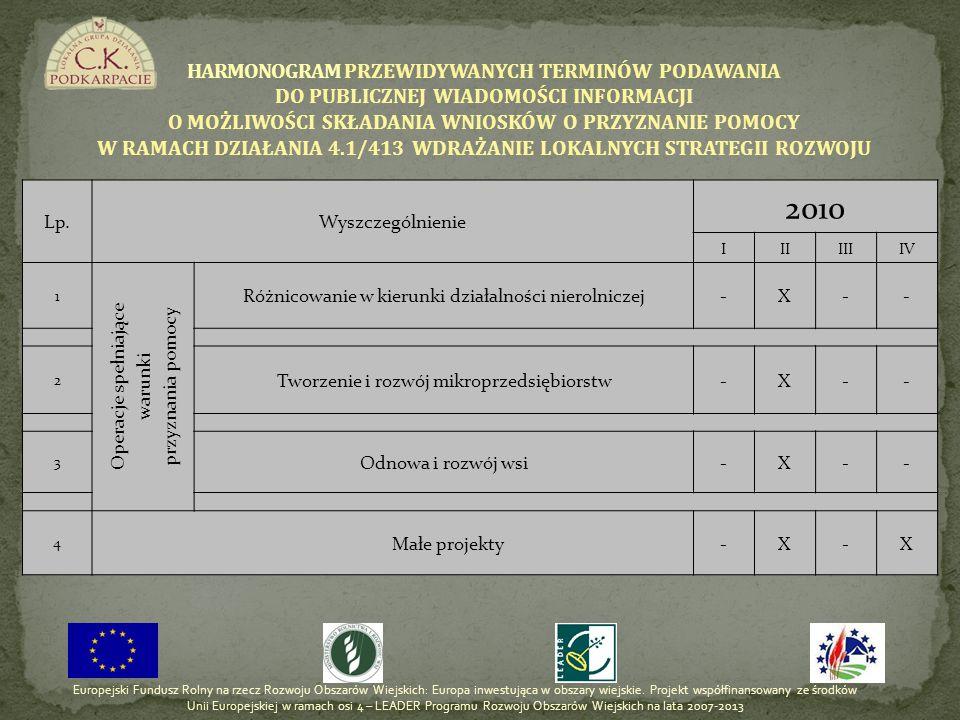 Lata realizacji LSR 4.1/413 – Wdrażanie lokalnych strategii rozwoju Operacje spełniające warunki przyznania pomocy dla działań Małe projekty Razem 4.1 / 431 Różnicowanie w kierunku działalności nierolniczej Tworzenie i rozwój mikro - przedsiębiorstw Odnowa i rozwój wsi 2010 45 000,00100 000,001 000 000,00 321 344,001 466 344,00 LIMITY ŚRODKÓW NA DZIAŁANIA W 2010 r.
