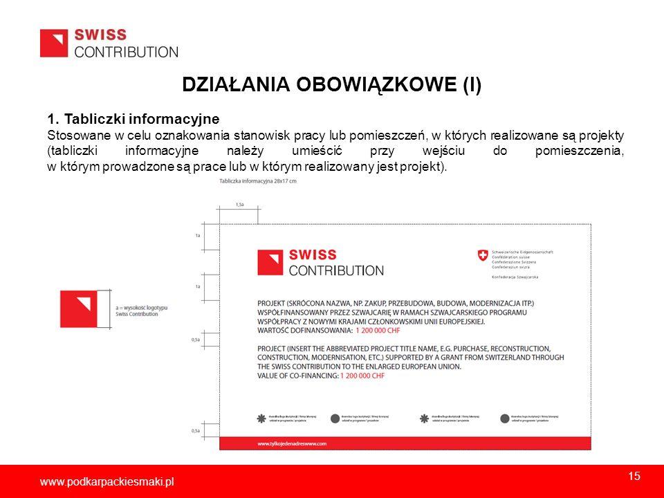 2013-11-1516 www.podkarpackiesmaki.pl DZIAŁANIA OBOWIĄZKOWE (I) 1. Tabliczki informacyjne Stosowane w celu oznakowania stanowisk pracy lub pomieszczeń
