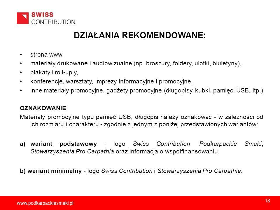 2013-11-1519 www.podkarpackiesmaki.pl DZIAŁANIA REKOMENDOWANE: strona www, materiały drukowane i audiowizualne (np. broszury, foldery, ulotki, biulety