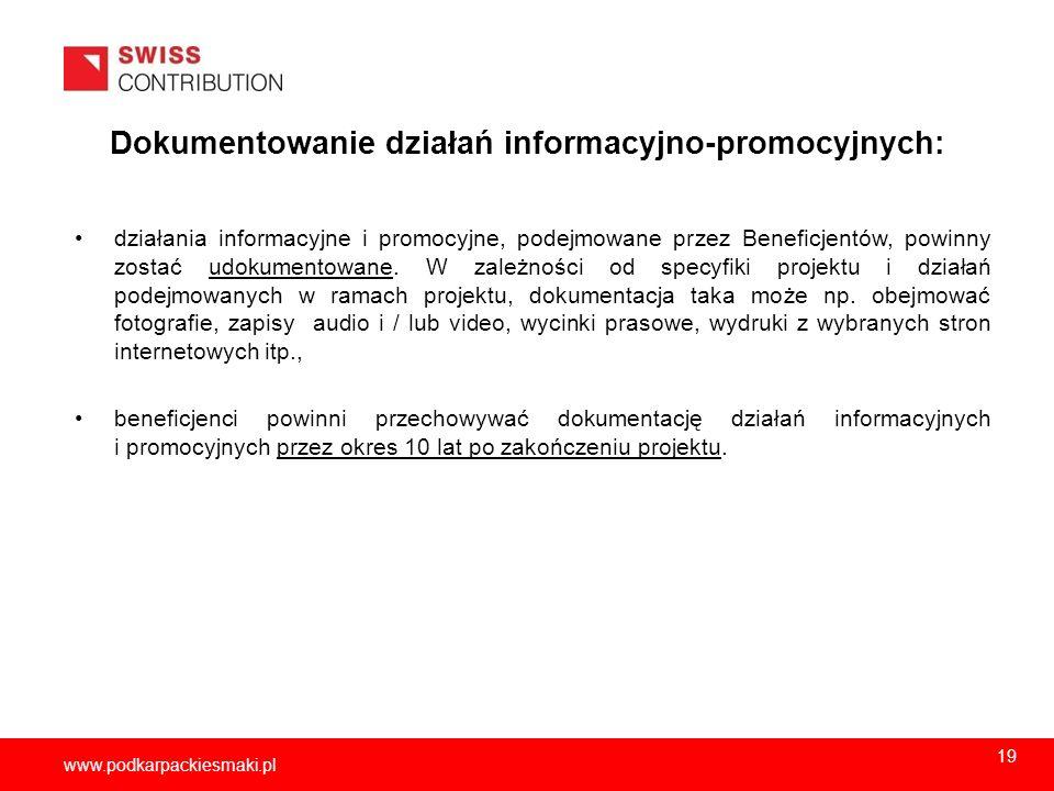 2013-11-1520 www.podkarpackiesmaki.pl Dokumentowanie działań informacyjno-promocyjnych: działania informacyjne i promocyjne, podejmowane przez Benefic