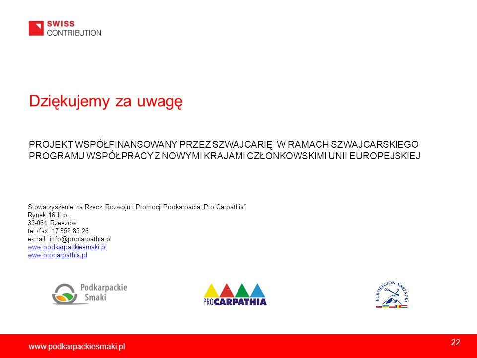 www.podkarpackiesmaki.pl Dziękujemy za uwagę PROJEKT WSPÓŁFINANSOWANY PRZEZ SZWAJCARIĘ W RAMACH SZWAJCARSKIEGO PROGRAMU WSPÓŁPRACY Z NOWYMI KRAJAMI CZ