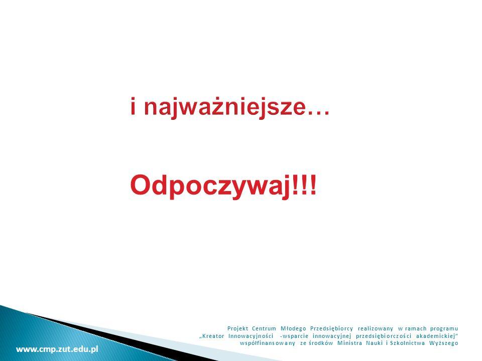 www.cmp.zut.edu.pl Projekt Centrum Młodego Przedsiębiorcy realizowany w ramach programu Kreator Innowacyjności -wsparcie innowacyjnej przedsiębiorczości akademickiej współfinansowany ze środków Ministra Nauki i Szkolnictwa Wyższego i najważniejsze… Odpoczywaj!!!