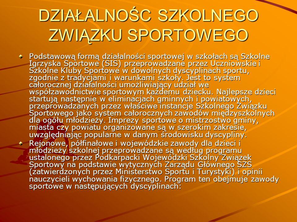 DZIAŁALNOŚC SZKOLNEGO ZWIĄZKU SPORTOWEGO Podstawową formą działalności sportowej w szkołach są Szkolne Igrzyska Sportowe (SIS) przeprowadzane przez Uc
