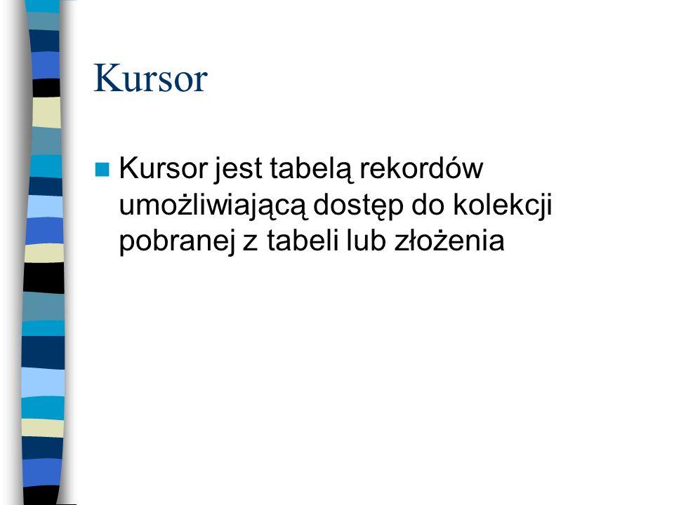 Kursor Kursor jest tabelą rekordów umożliwiającą dostęp do kolekcji pobranej z tabeli lub złożenia