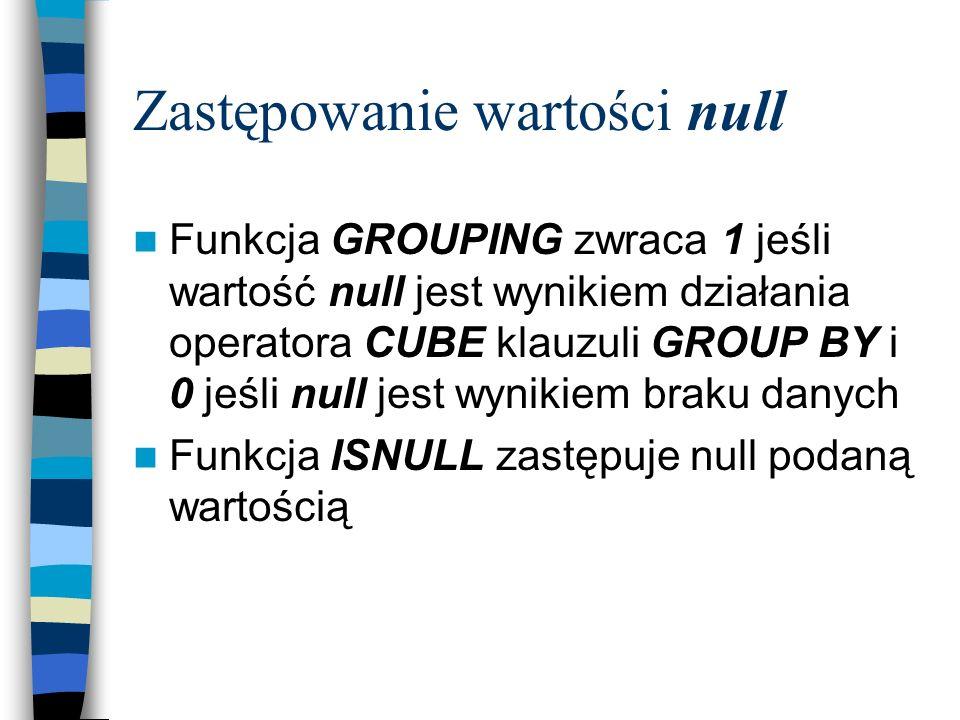 Zastępowanie wartości null Funkcja GROUPING zwraca 1 jeśli wartość null jest wynikiem działania operatora CUBE klauzuli GROUP BY i 0 jeśli null jest w