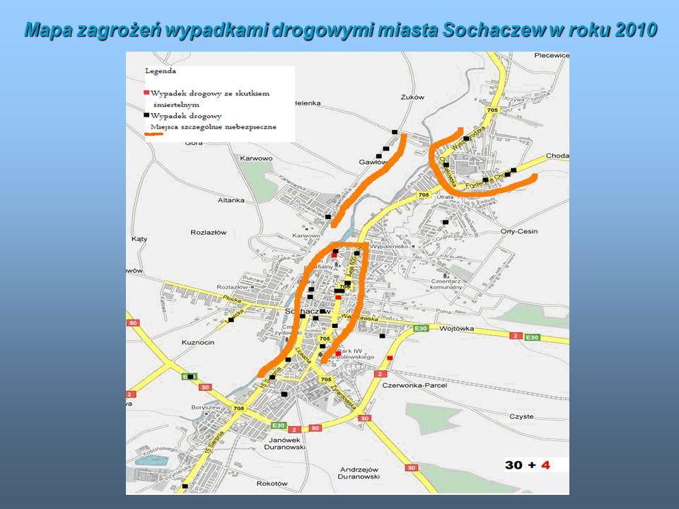 Mapa zagrożeń wypadkami drogowymi miasta Sochaczew w roku 2010