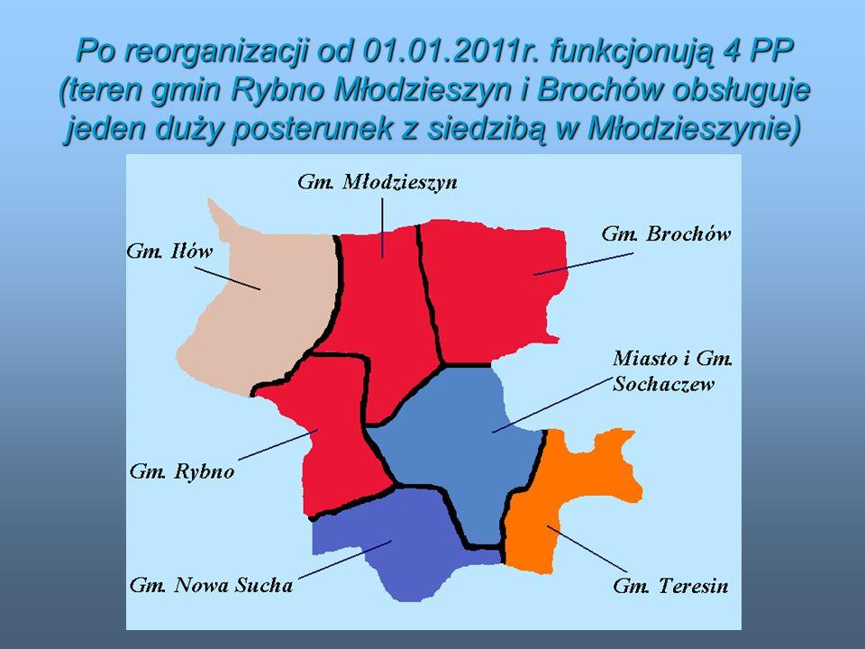 Po reorganizacji od 01.01.2011r. funkcjonują 4 PP (teren gmin Rybno Młodzieszyn i Brochów obsługuje jeden duży posterunek z siedzibą w Młodzieszynie)