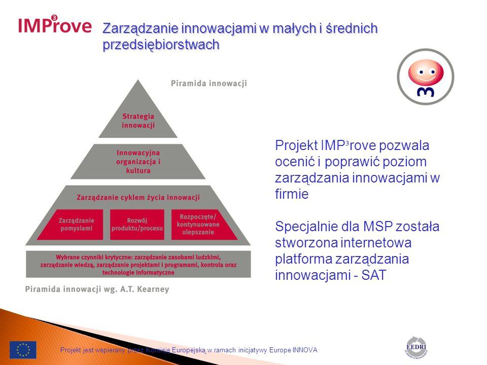 Zarządzanie innowacjami w małych i średnich przedsiębiorstwach Projekt IMP ³ rove pozwala ocenić i poprawić poziom zarządzania innowacjami w firmie Sp