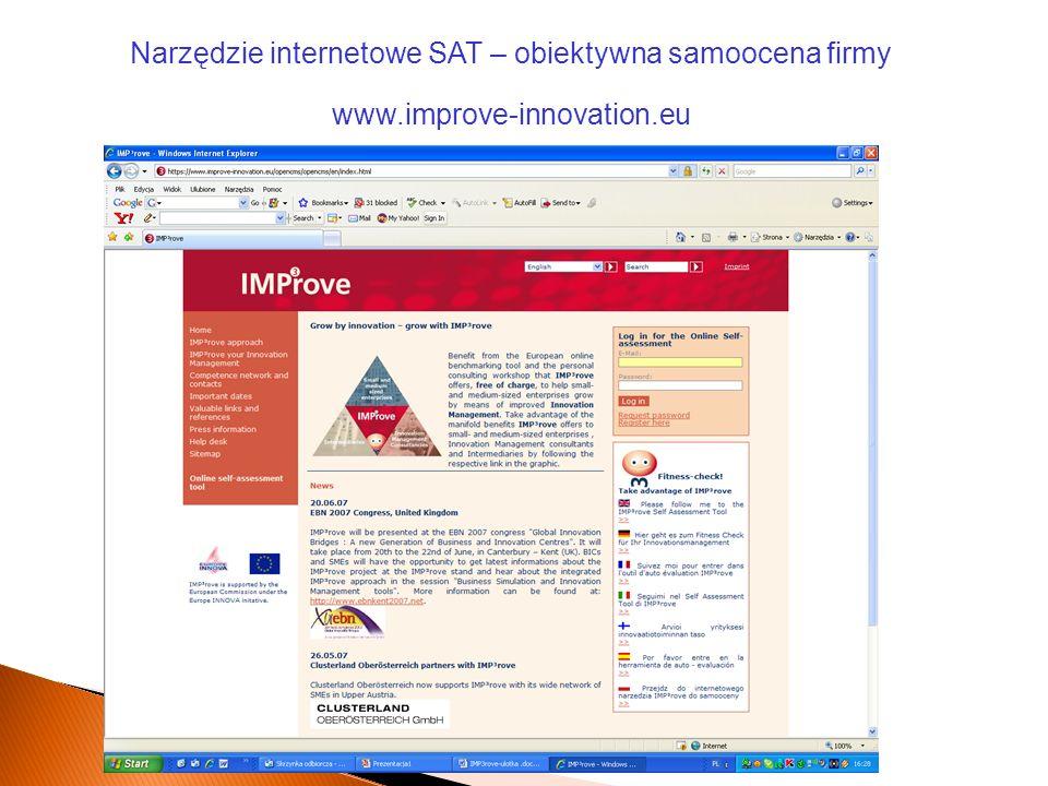 Narzędzie internetowe SAT – obiektywna samoocena firmy www.improve-innovation.eu