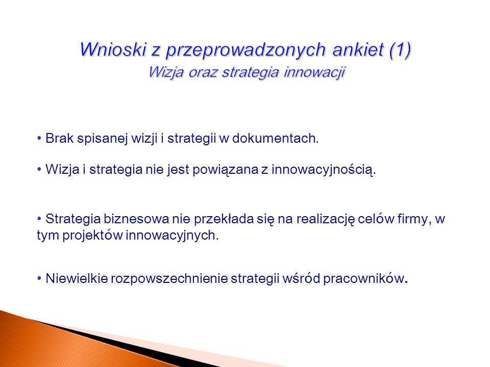 Brak spisanej wizji i strategii w dokumentach. Wizja i strategia nie jest powiązana z innowacyjnością. Strategia biznesowa nie przekłada się na realiz