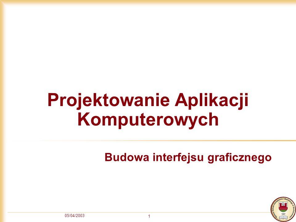 05/04/2003 1 Projektowanie Aplikacji Komputerowych Budowa interfejsu graficznego